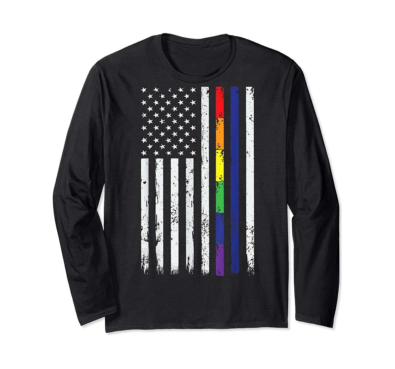 Police Support Lgbt Gay Pride Thin Red Line Rainbow Flag Fun T-shirt Long Sleeve T-shirt