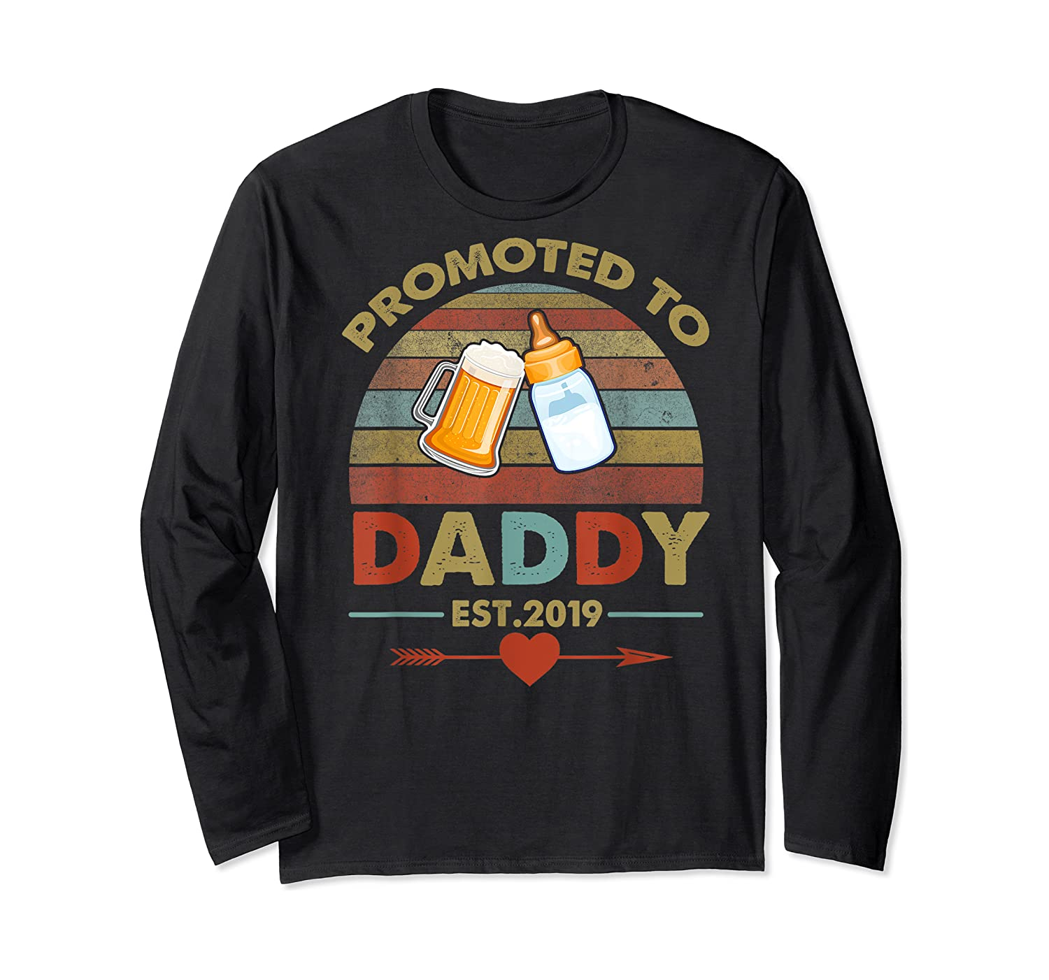 Promoted To Daddy Est 2019 Vintage Arrow T-shirt Long Sleeve T-shirt
