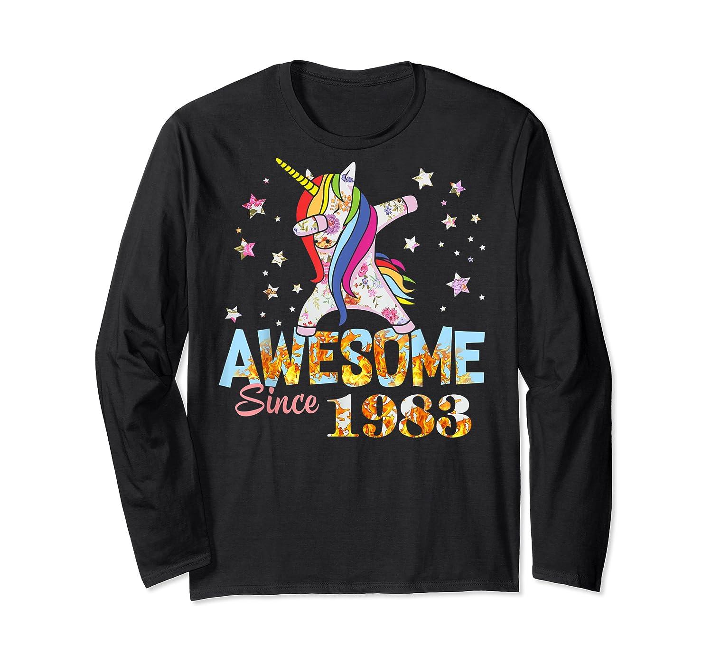 Dabbing Unicorn Awesome Since 1983 36th Birthday Gift 36 Yrs Shirts Long Sleeve T-shirt