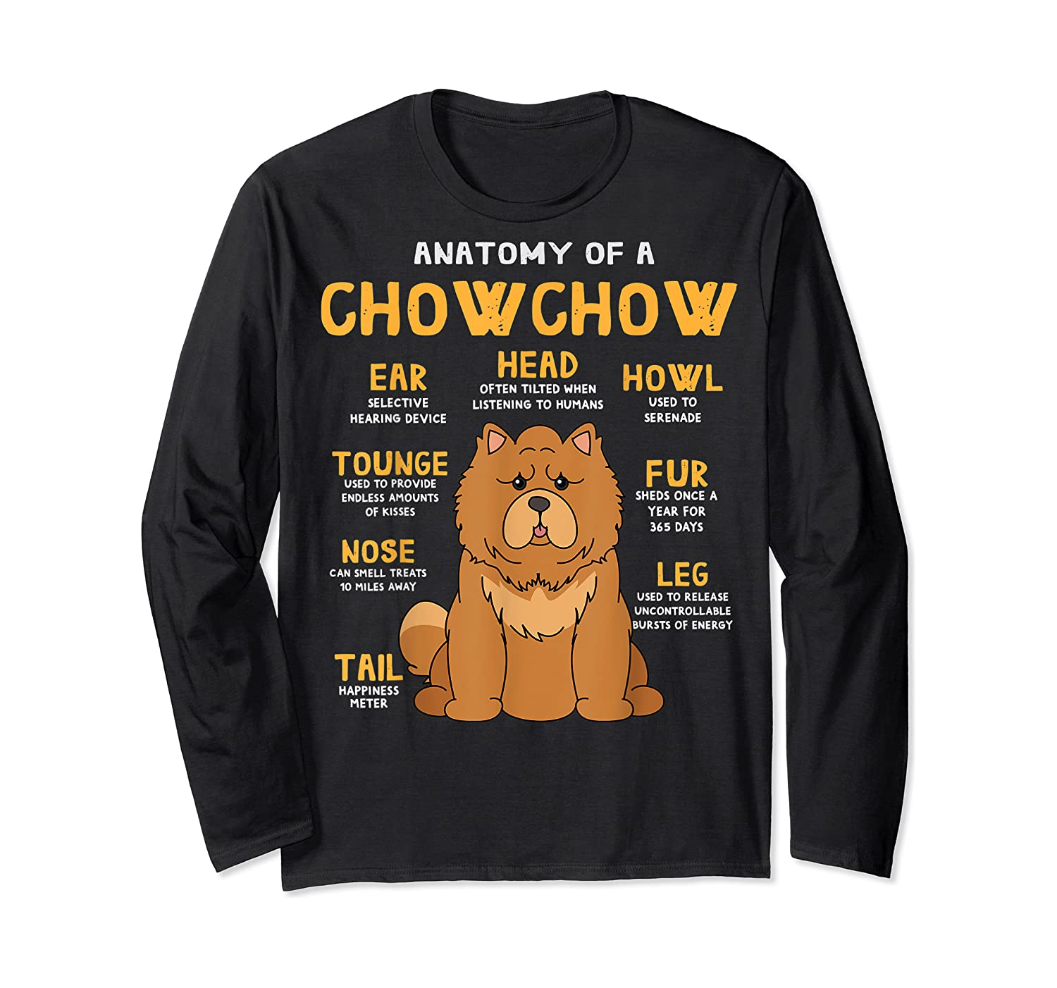 Chow Chow Funny Anatomy Of Mom Dad Dog Gift T-shirt Long Sleeve T-shirt