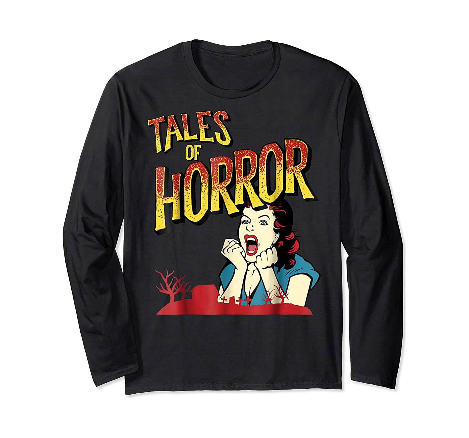 Vintage Horror Movie Poster Funny Halloween Shirts Long Sleeve T-shirt