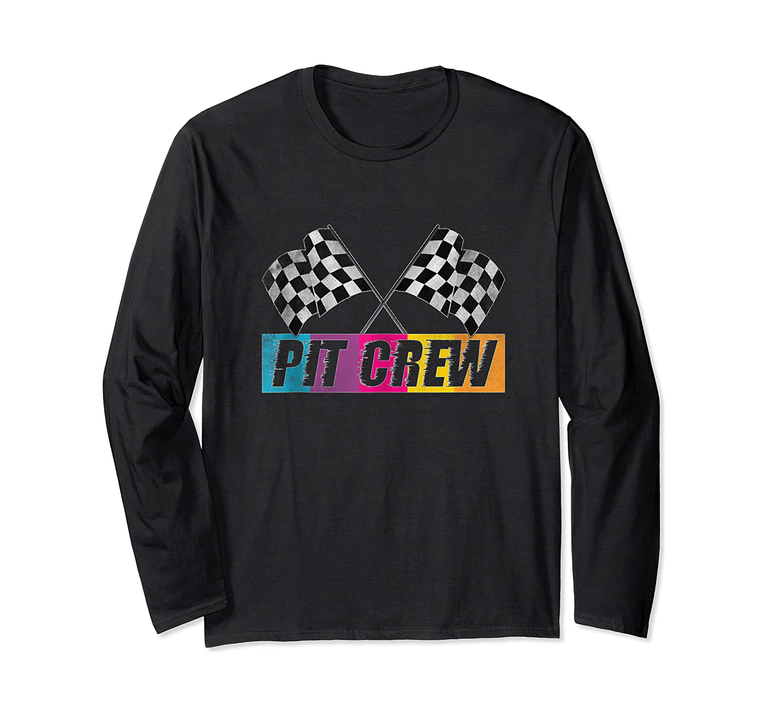 Pit Crew Race Car Party Checkered Flag Car Racing Party Gift Shirts Long Sleeve T-shirt