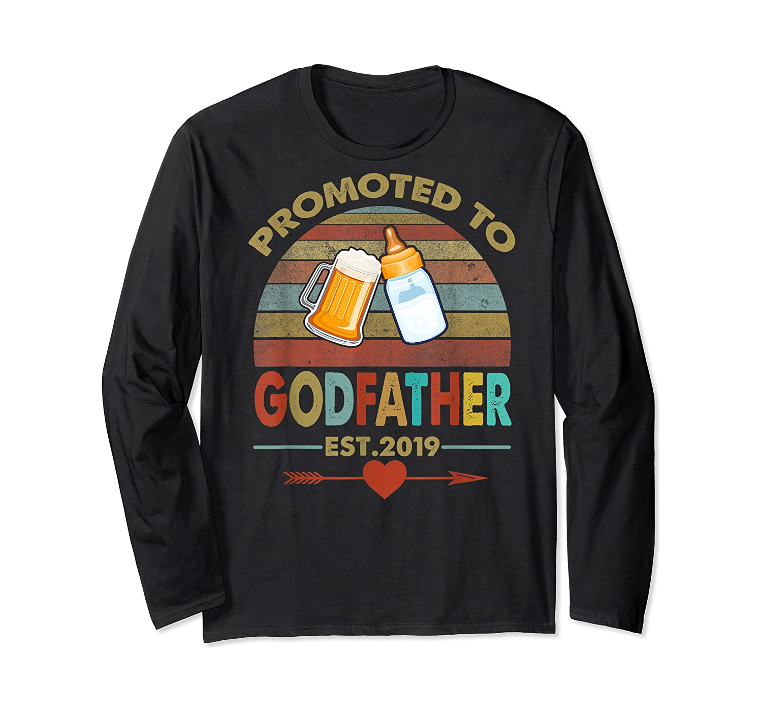 Promoted To Godfather Est 2019 Vintage Arrow Shirts Long Sleeve T-shirt