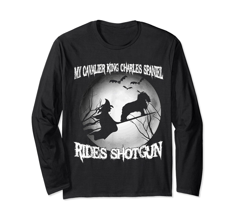 Cavalier King Charles Spaniel Rides Shotgun Halloween Shirts Long Sleeve T-shirt