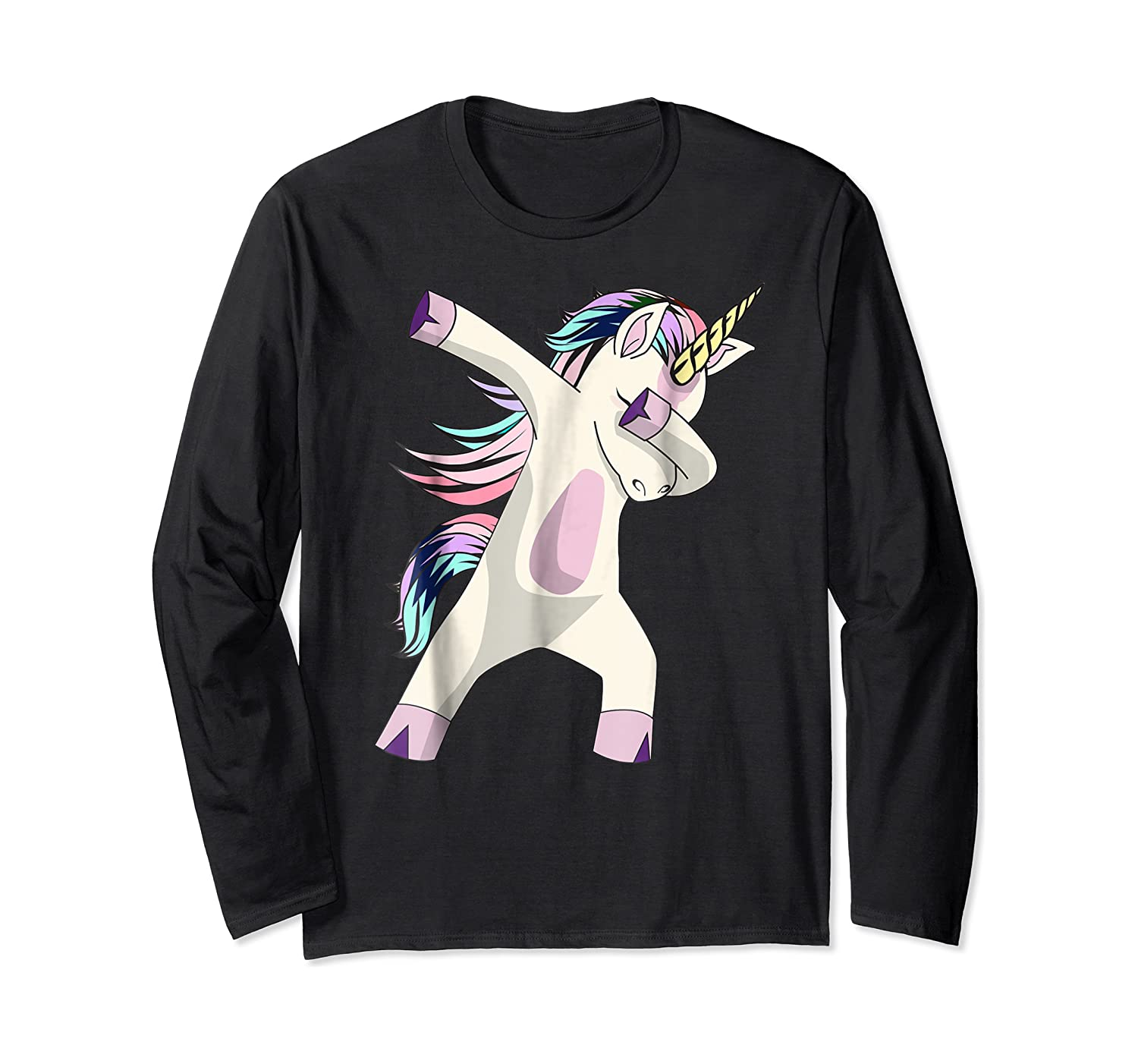 Dabbing Unicorn For Daughter Son Granddaughter Daddy Shirts Long Sleeve T-shirt