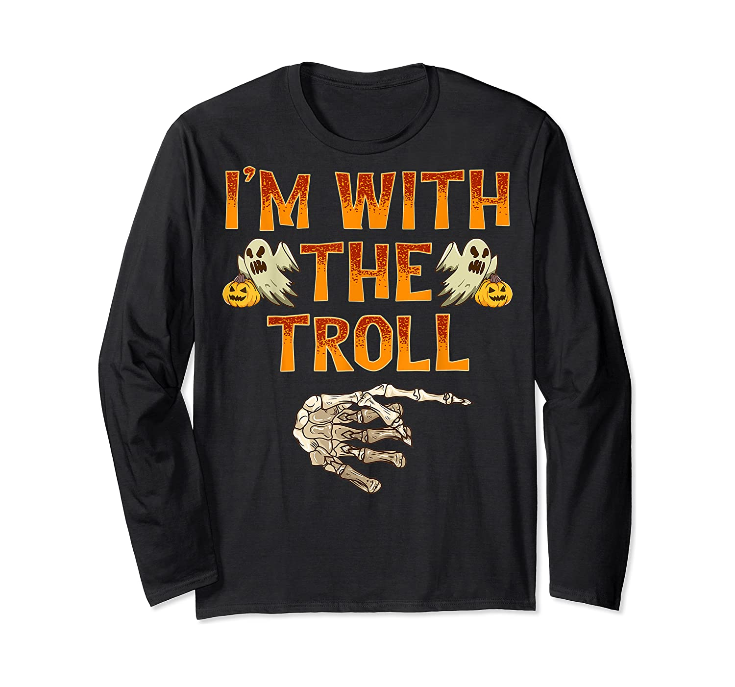 I'm With The Troll Costume Funny Halloween Couple Shirts Long Sleeve T-shirt