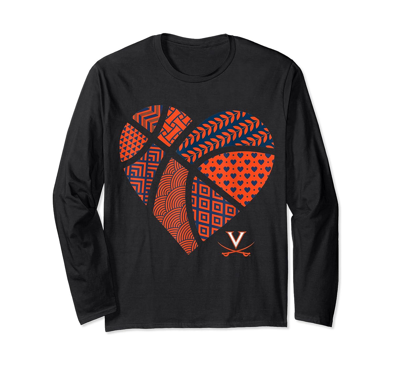 Virginia Cavaliers Patterned Heart Apparel Shirts Long Sleeve T-shirt