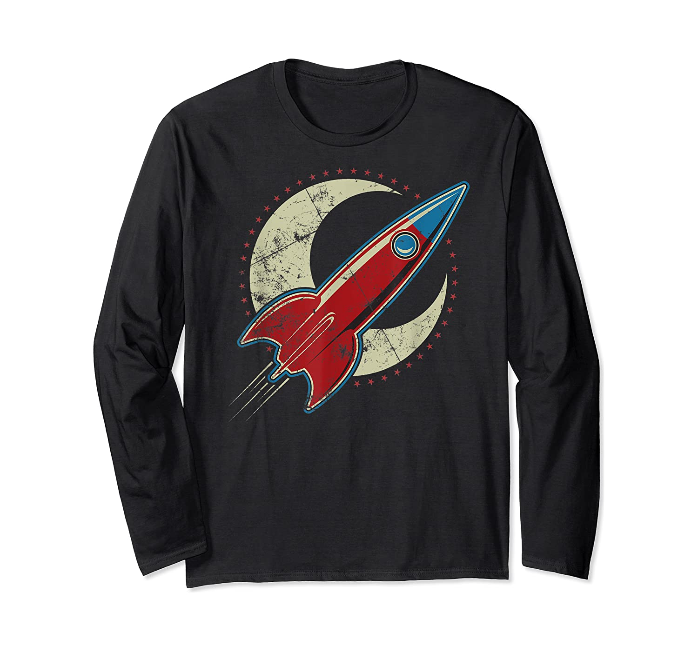 Retro Red Rocket T-shirt Long Sleeve T-shirt