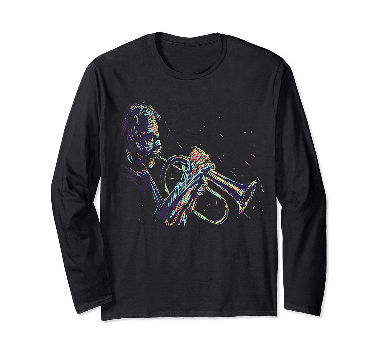 Trumpet Jazz Player Abstract Music Tea Trumpeter Gift Shirts Long Sleeve T-shirt