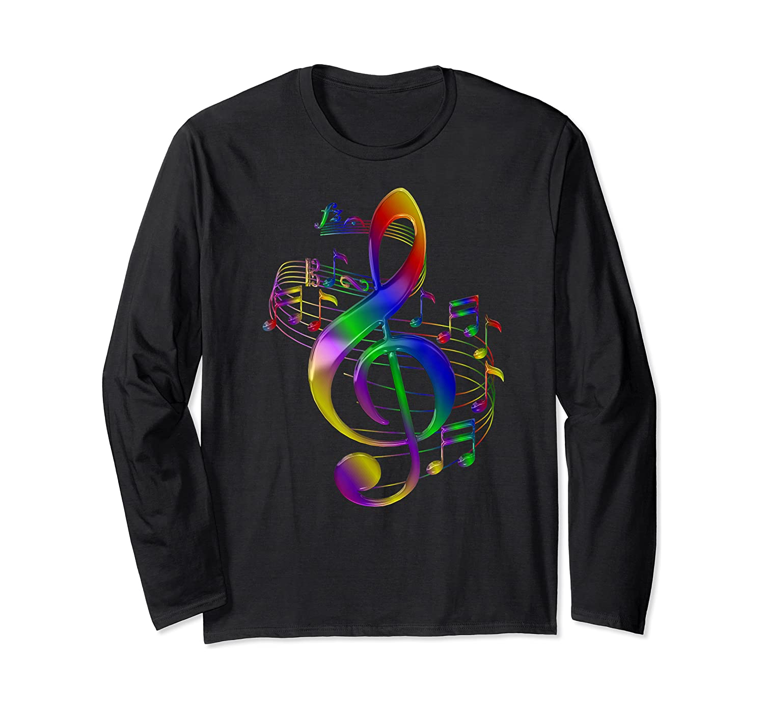 Treble Clef With Music Notes Shirts Long Sleeve T-shirt