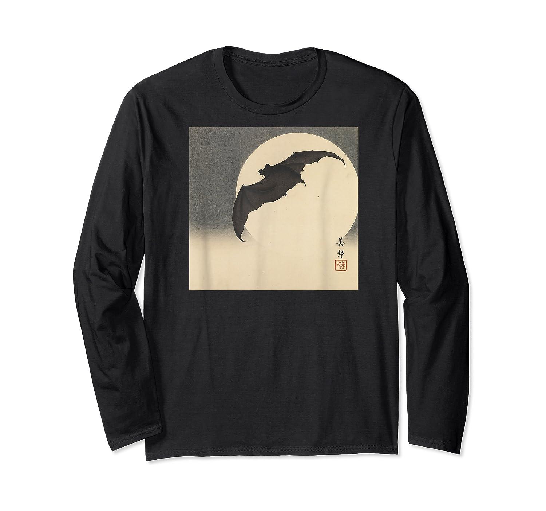 Bat In Moon 1905 Japanese Woodblock Art Meiji Period Shirts Long Sleeve T-shirt