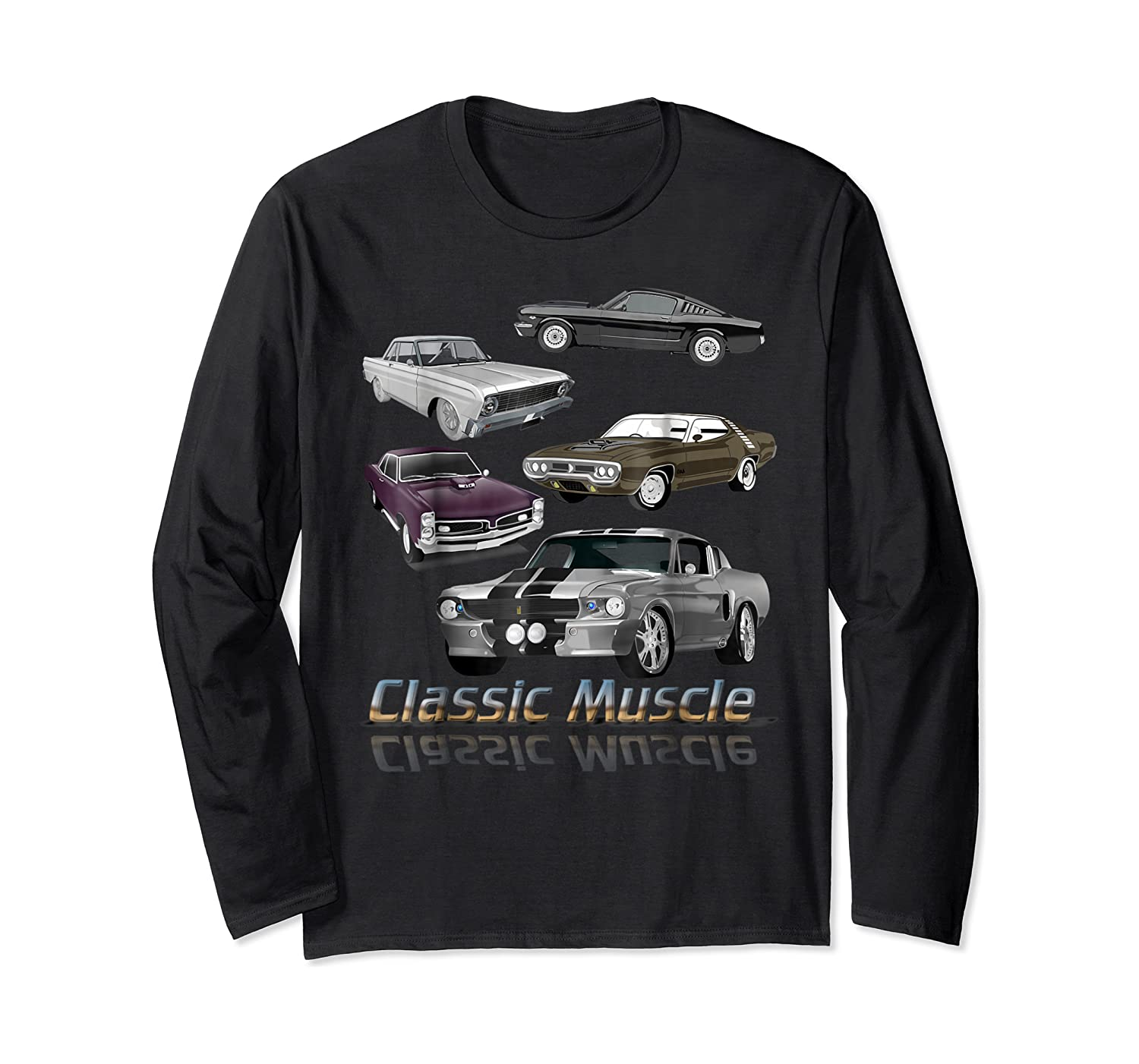 Classic American Muscle Cars Vintage Gift Shirts Long Sleeve T-shirt
