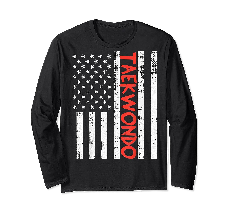 Us Flag Taekwondo Vintage Patriotic Martial Arts Lover Gift T-shirt Long Sleeve T-shirt