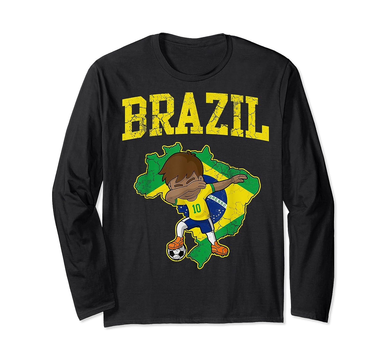 Brazil Soccer Boy Brazilian Football Dabbing Shirts Long Sleeve T-shirt