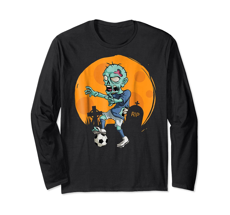 Zombie Soccer T-shirt Funny Sports Halloween Gift Shirt Long Sleeve T-shirt