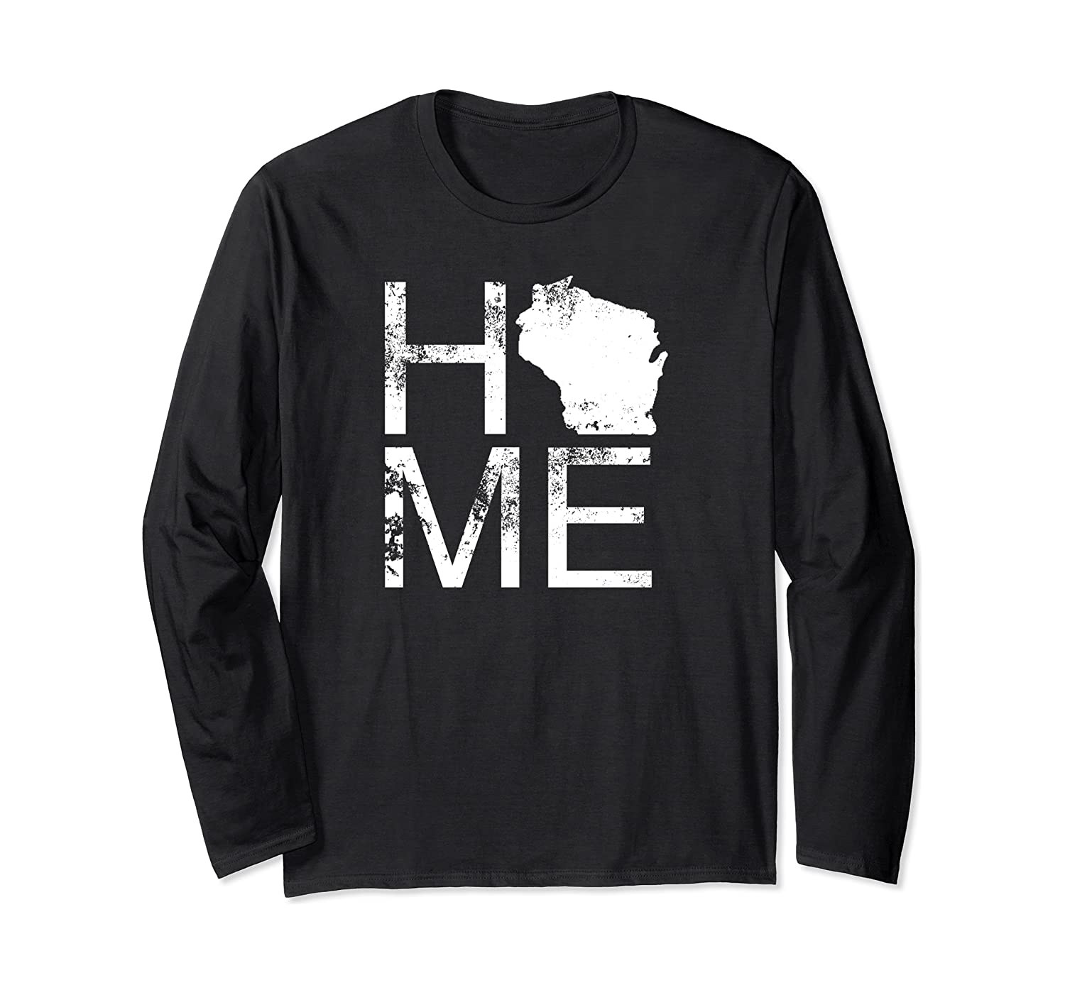 Vintage Wisconsin Home Map In Place Of O WI State Wisconsin Long Sleeve T-Shirt