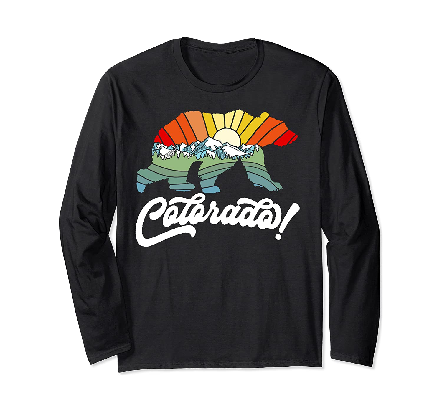 Colorado Bear Artistic & Colorful Outdoor & Nature Mountains Long Sleeve T-Shirt