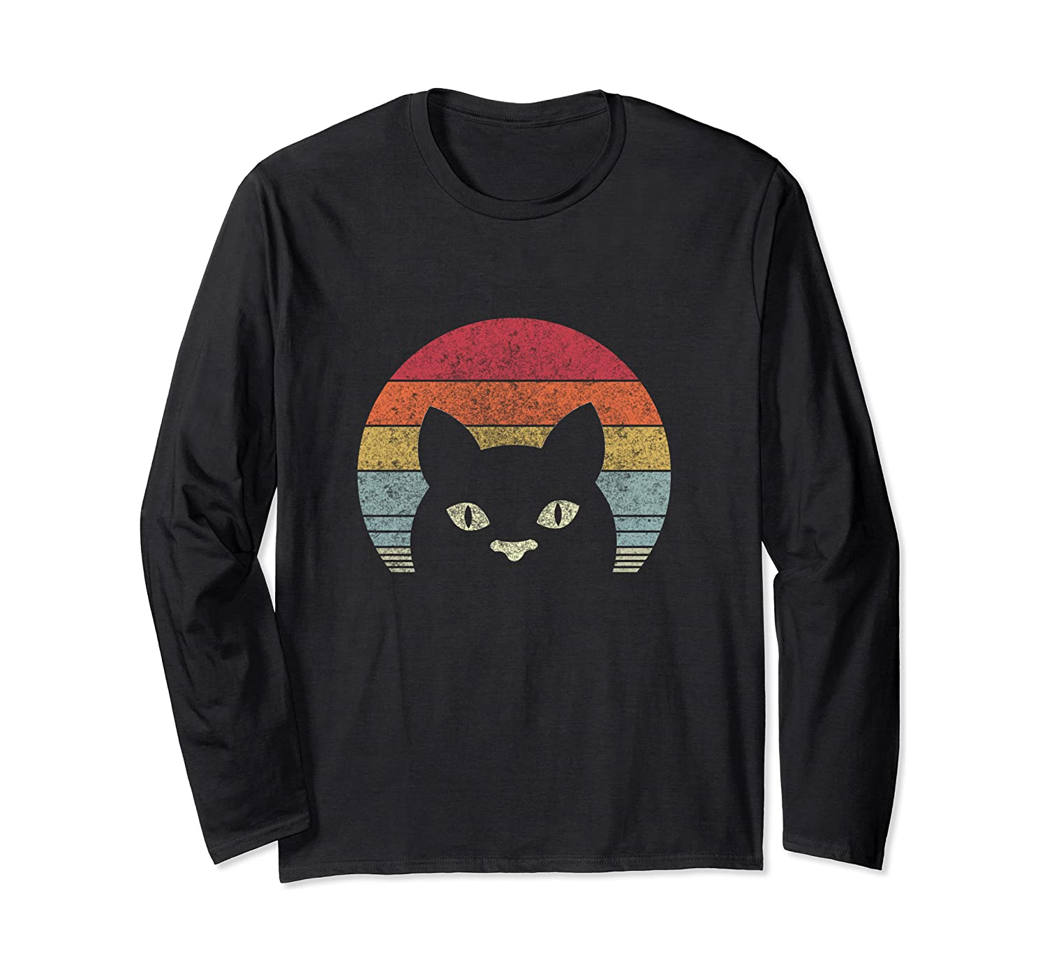 Vintage Black Cat Lover, Retro Style Cats Gift  Long Sleeve T-Shirt