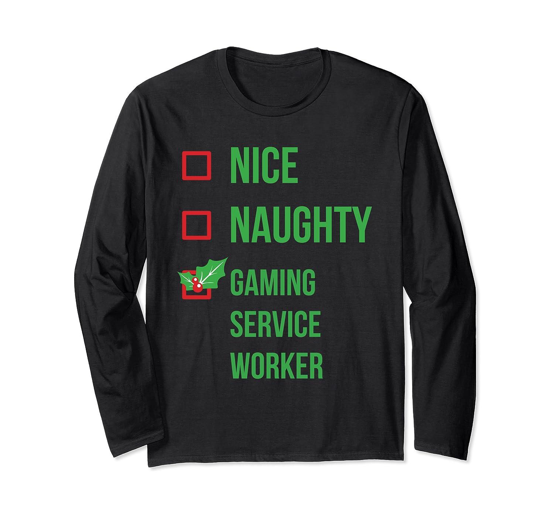 Gaming Service Worker Funny Pajama Christmas Gift Long Sleeve T-Shirt