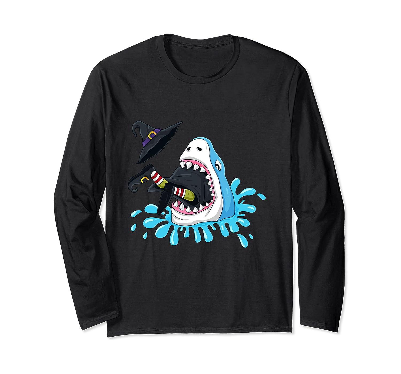 Shark Eats Witch Funny Halloween Girls Boys Kids Shirts