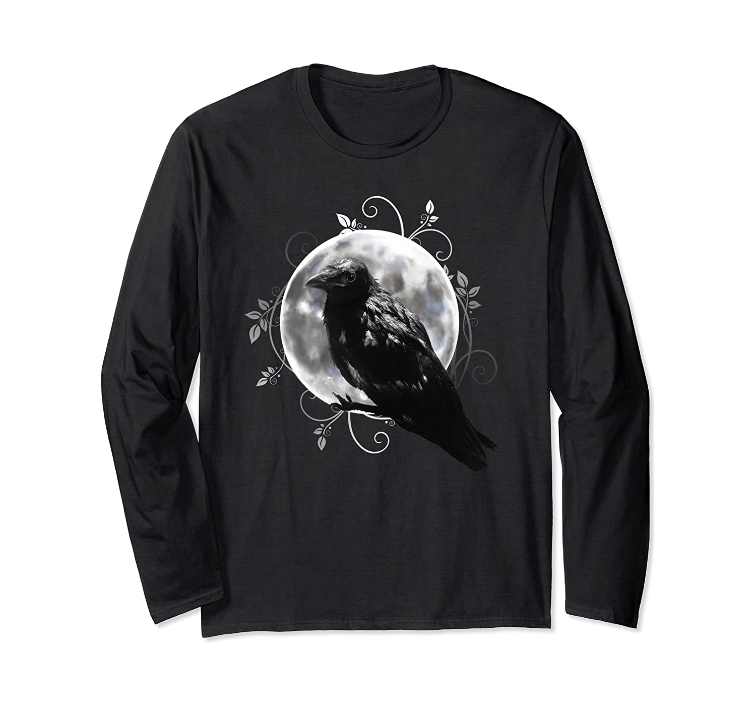 Black Raven with Moon. Occult Halloween Design. Gift Idea. Long Sleeve T-Shirt