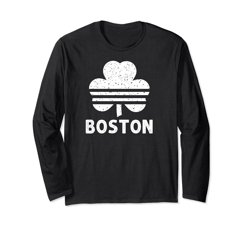 Irish Retro Shamrock Vintage Boston Fan Apparel Three Clover Long Sleeve T-Shirt