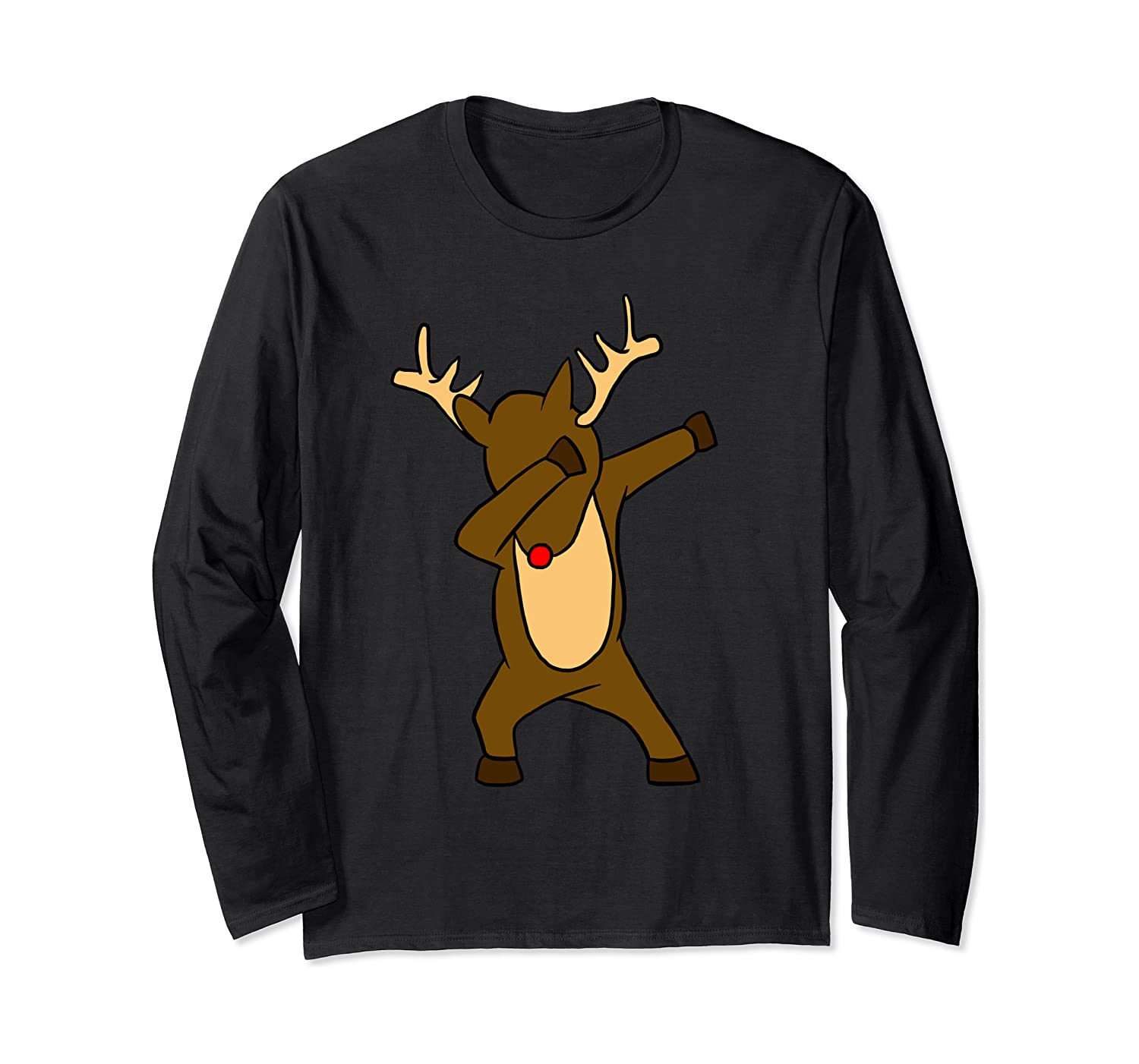 Dabbing Rudolph Red Nosed Reindeer Funny Dab Xmas Gift Long Sleeve T-Shirt