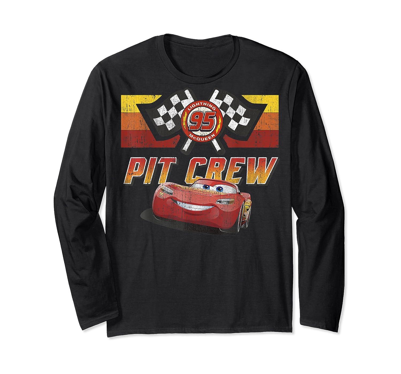Disney Pixar Cars Mcqueen Pit Crew Red Distressed T-shirt T-shirt Long Sleeve T-shirt