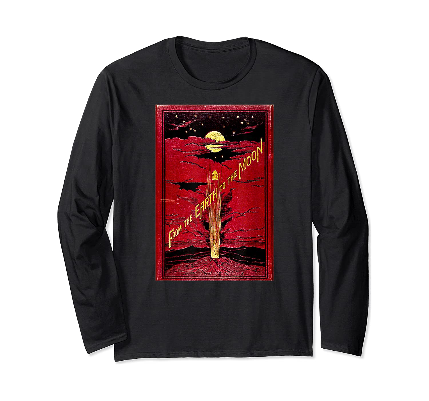 From The Earth To The Moon Jules Verne Book Cover Design Shirts Long Sleeve T-shirt
