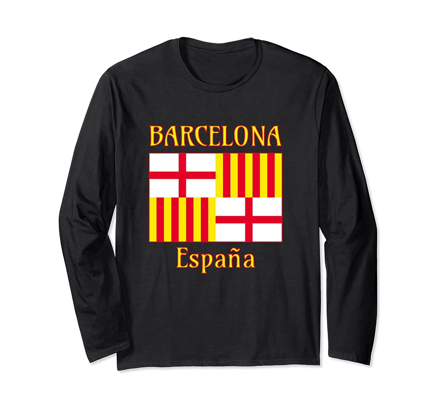 Flag Red White Yellow Barcelona Graphic Long Sleeve T-shirt