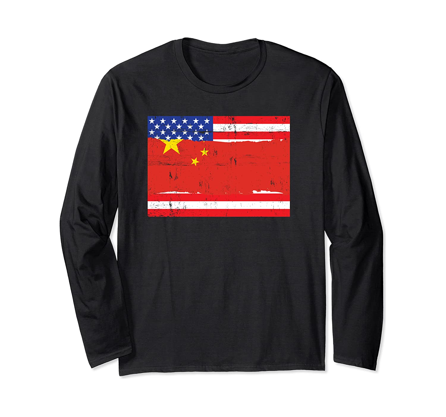Chinese American Flag Distressed Long Sleeve T-Shirt