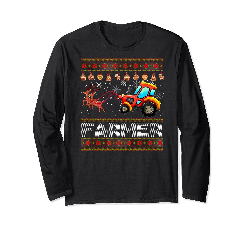 Tractors Farmer Christmas Funny Farming Xmas Gift Shirts Long Sleeve T-shirt