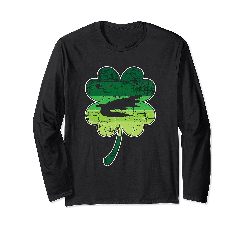 Alligator Crocodile Shamrock Irish St Patricks Day Gift Long Sleeve T-Shirt-Awarplus