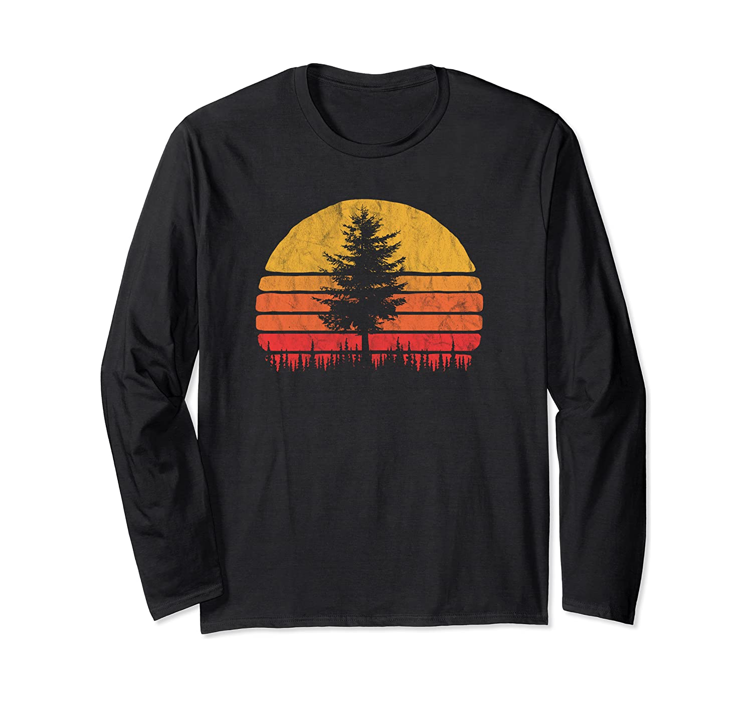 Retro Sun Minimalist Pine Tree Vintage Graphic Long Sleeve T-Shirt