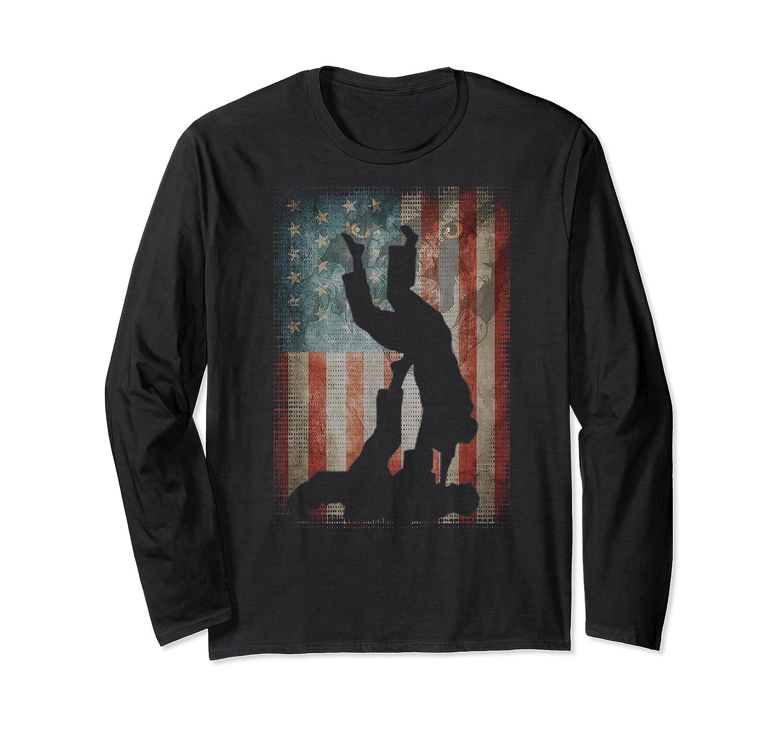 Vintage Flag American Brazilian Jiu-jitsu Lovers Gift Family T-shirt Long Sleeve T-shirt