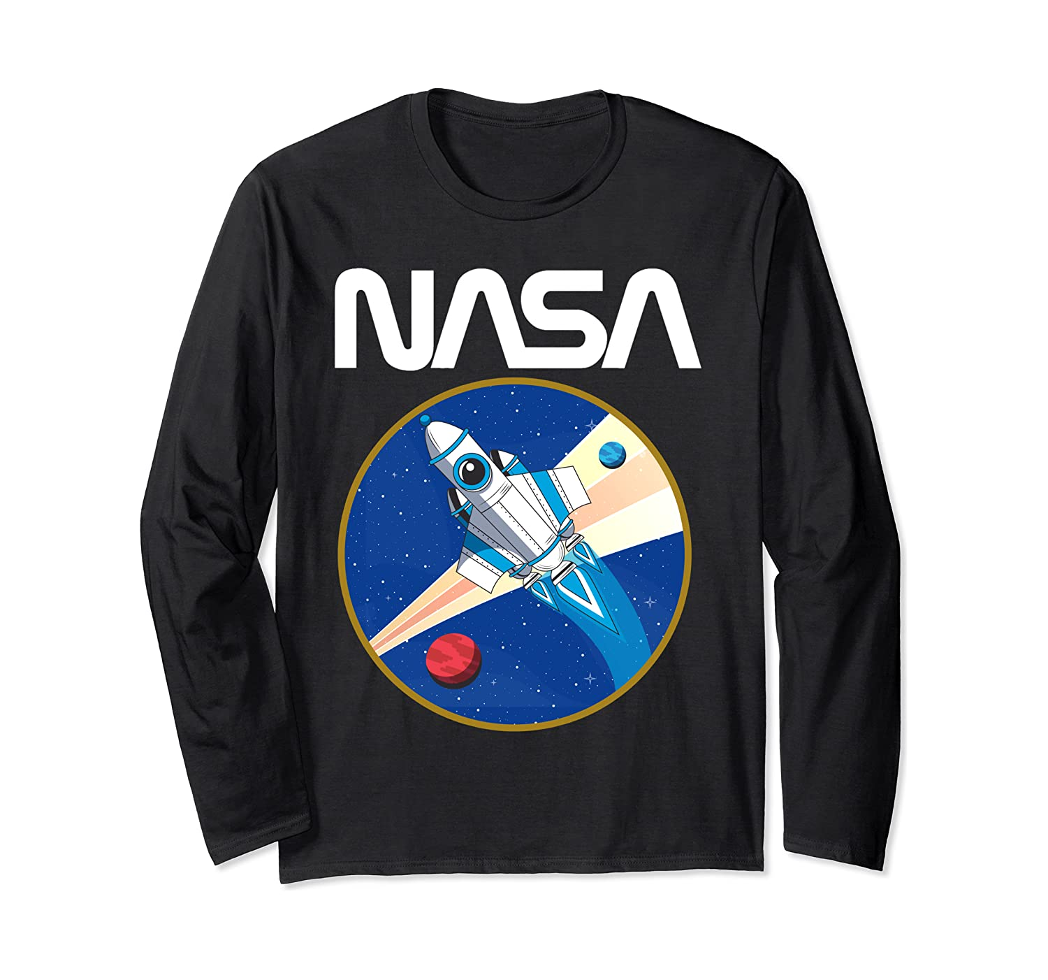 NASA Retro Rocket Space Galaxy Vintage Apollo 11 Fun Gift Long Sleeve T-Shirt