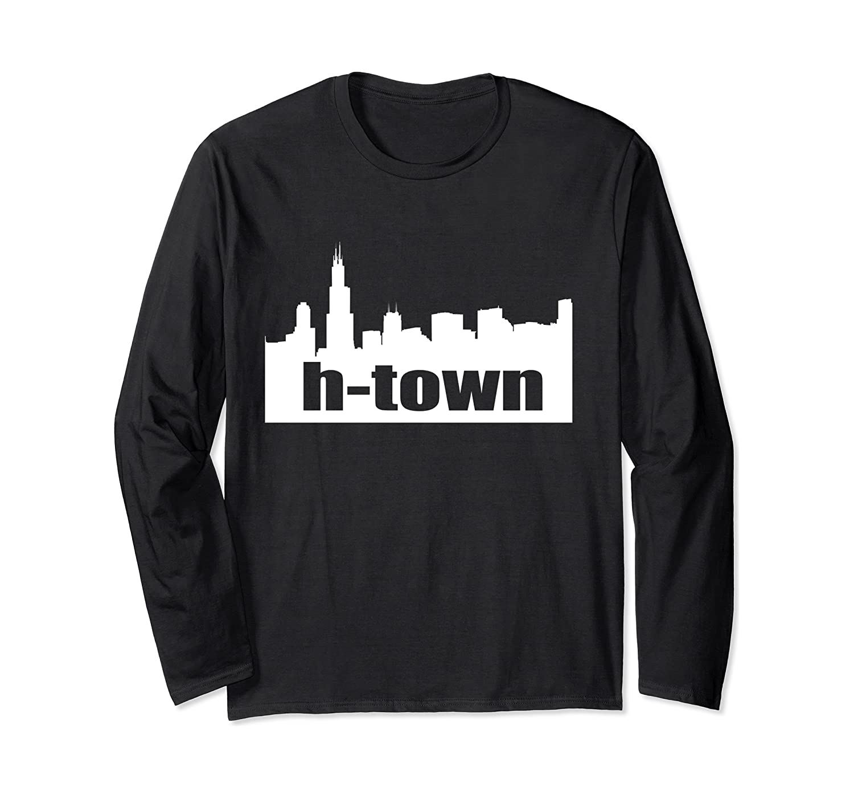 Houston Texas Skyline Print H-town Pullover Shirts Long Sleeve T-shirt