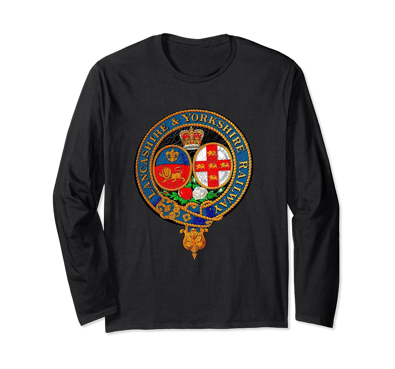Vintage Lancashire Yorkshire Railways Steam Engine Emblem Long Sleeve T-Shirt