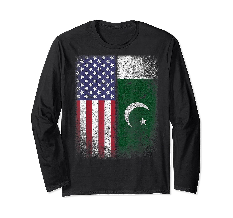 Pakistan Usa Pakistani American Flag Pride Shirts Long Sleeve T-shirt