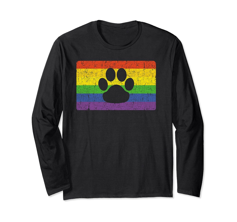 Gay Furry Pride Flag Gift Furries Rainbow Lgbt Fandom Paw Shirts Long Sleeve T-shirt
