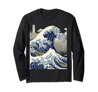 Amazon Com Japanese Tattoo Ukiyo E Kanagawa The Great Wave Long Sleeve T Shirt Clothing