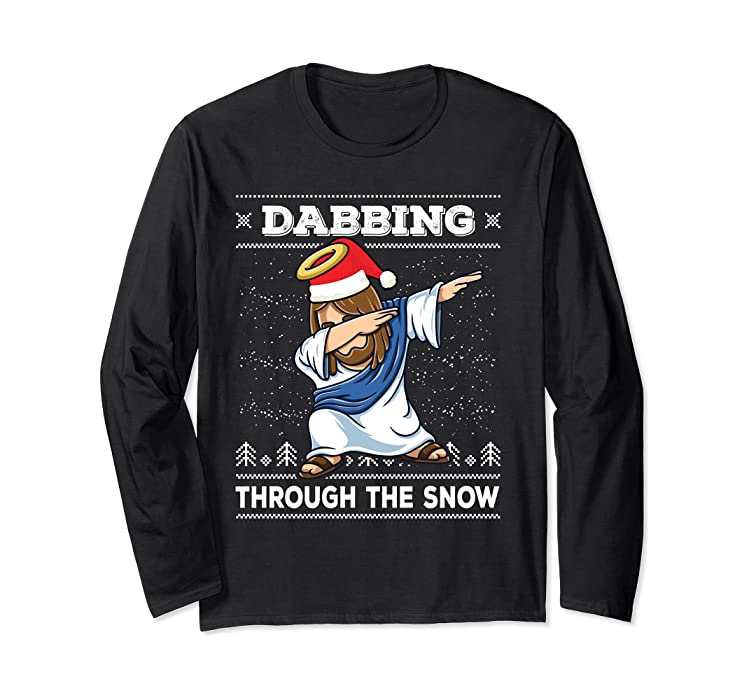 61c4b68416 Amazon.com: Dabbing Jesus Christ Ugly Christmas Sweater Dab Long Sleeve:  Clothing