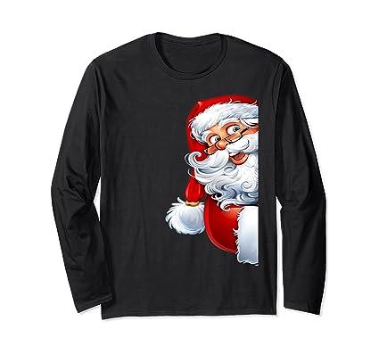 Funny Side Santa Claus Wish a Merry Christmas Happy New Year Long Sleeve T-Shirt: Amazon.co.uk: Clothing
