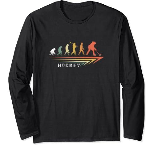 Ice Hockey Shirt. Retro Evolution T Shirt For Hockey Player Long Sleeve T Shirt