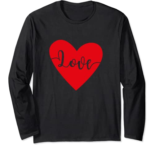 Red Heart Love Valentines Day Long Sleeve T Shirt