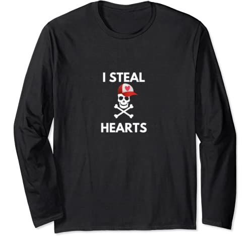 I Steal Hearts Valentines Day Pirate Boy Valentine Gift Long Sleeve T Shirt