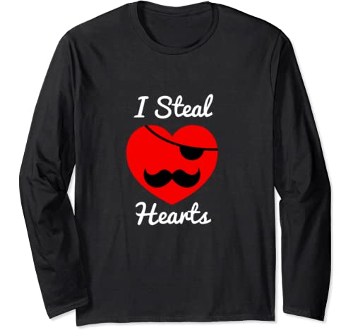 Valentine's Day I Steal Mustaches Heart Men Women Kid Pajama Long Sleeve T Shirt