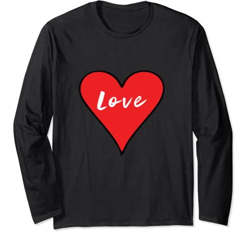 Love Big Heart Red Valentine's Day Gift Long Sleeve T Shirt