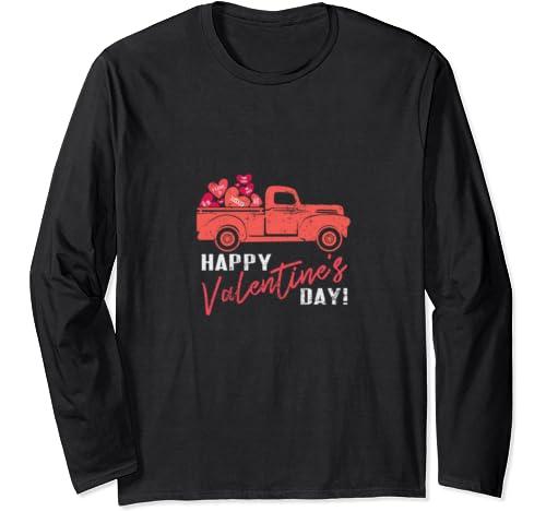 Vintage Valentine Red Truck Shirt   Happy Valentine's Day Long Sleeve T Shirt