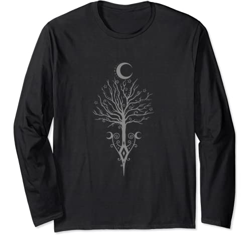 Samhain Tree With Moons   Dark Autumn Night   Wicca Gift Long Sleeve T Shirt